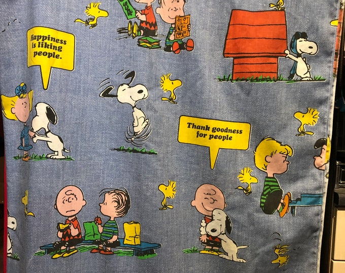 Vintage 1966 Peanuts Curtain 60s Nostalgia Retro Linens Vintage Fabric Charlie Brown Snoopy Woodstock