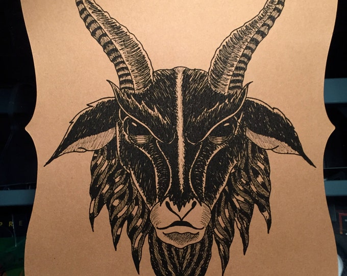 Occult Baphomet Art print Devil Goat by Art By Kev G Witchcraft Witch Devil Satan Satanic Gothic Goth Pentagram Evil Witchy Halloween Horror