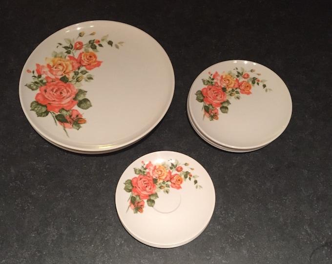 Vintage Dorchester MELMAC Melamine Plates - Coral Floral Design - Dorchester Brand