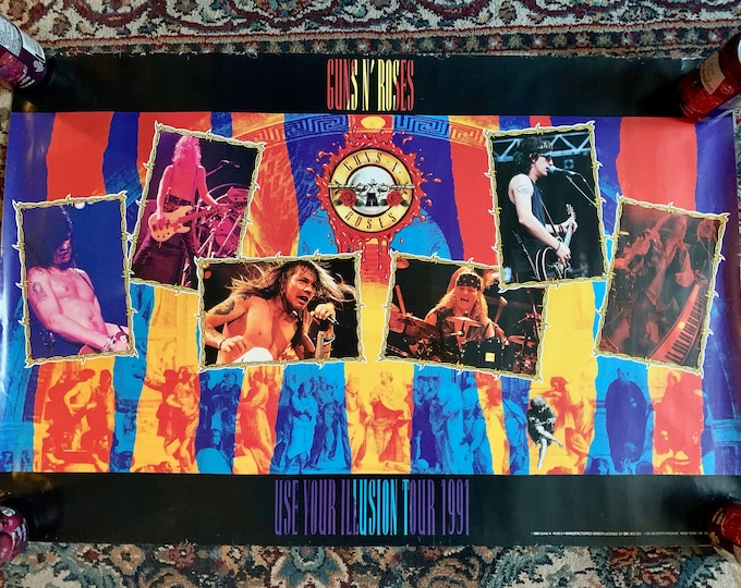 Vintage 1991 Guns N Roses GNR Use Your Illusion Poster Dokken Motley Crue Aerosmith Judas Priest Iron Maiden Axl Rose Slash Duff McKagen
