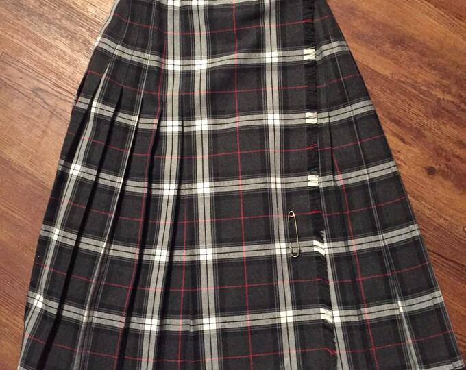 Original 70s Vintage Pleated Marks & Spencer Tartan Knee Length Skirt Black Grey and Red Scottish Wool Kilt