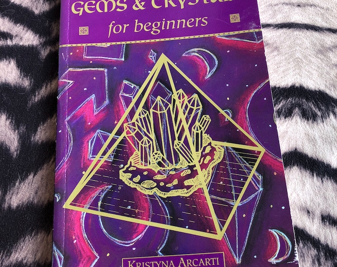 Vintage Gems and Crystals for Beginners softcover Book 1998 - Tarot Cards Witch Horror Crystal Healing  Psychic Witchy Amulets Crystal Ball