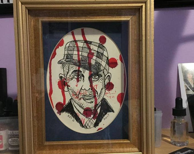 Serial Killer Ed Gein art framed and matted with oval mat Art By Kev G Gore Macabe Horror Texas Chainsaw Massacre Serial Killers  Morbid