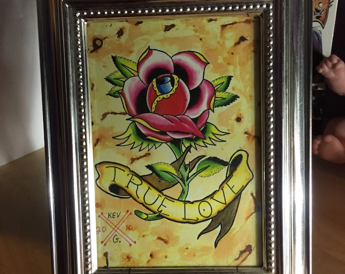 Rose True Love watercolor art painting framed tattoo flash Tattoos Lovers Red Rose Roses Love Art By Kev G Artist Flower Flowers Floral cute