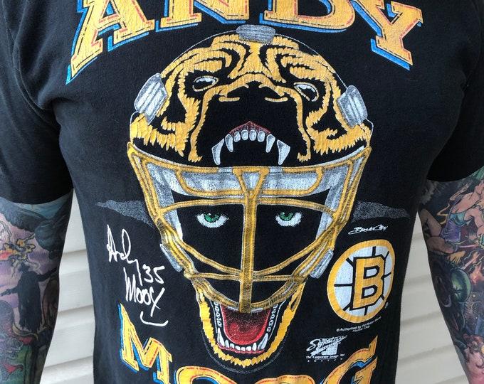 Vintage Boston Bruins Andy Moog NHL Goalie Tshirt Sports Hockey Boston Garden Stanley Cup Dallas Stars Edmonton Oilers Ray Bourque Cam Neely