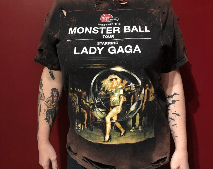 Distressed and Altered Lady Gaga Art Rave Tour Shirt - AHS  (MED) - band shirt band tee dance gay Bad Romance dancing choreography Drake