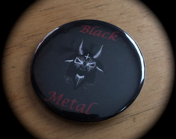 Black Metal Corpse Paint Baphomet Pin Badge 666 satanic gothic goth horror occult satanic by Art By Kev G Tarot Goat Horror Witchcraft Salem