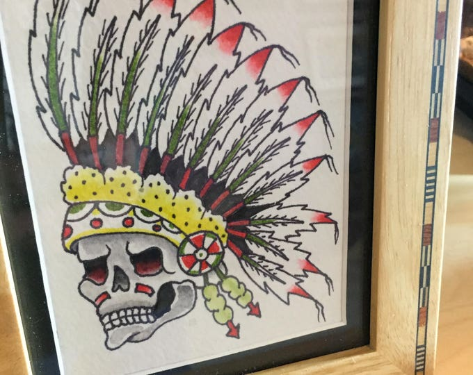 Indian Native American watercolor art painting framed tattoo flash Art By Kev G Tattoo Art skull skulls artwork artworks watercolour paints