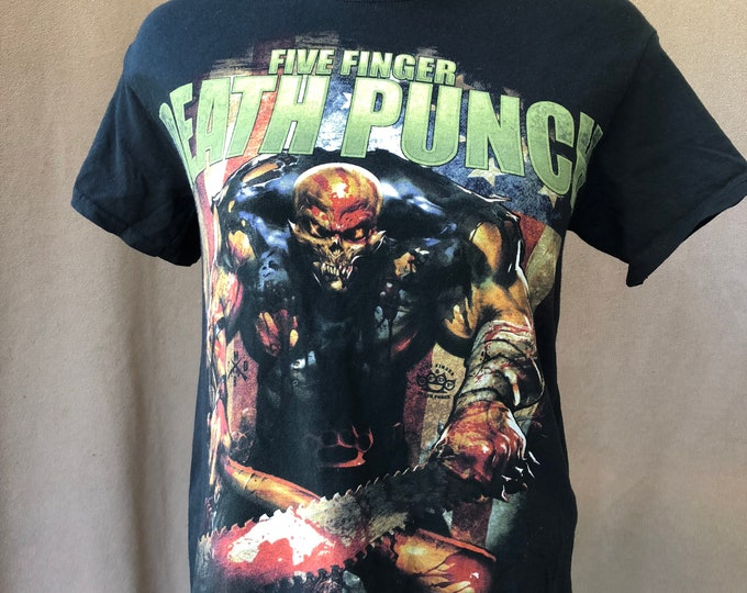 Five Finger Death Punch Band Shirt (Med) chainsaw Heavy metal Band Tee Thrash Metal Avenged Sevenfold Disturbed Metallica Godsmack Volbeat