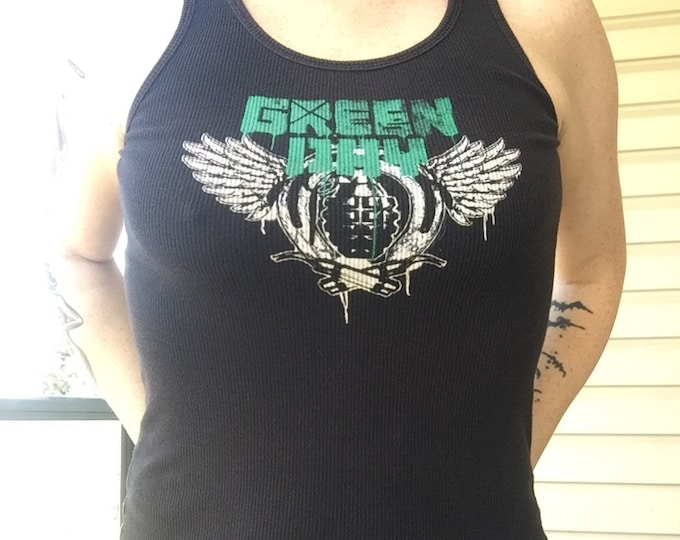 Green Day - Ladies Slim Fit Tank (M) Pop Punk - Billie Joe Armstrong band shirt band tee tshirt Tre cool nimrod dookie American idiot pop