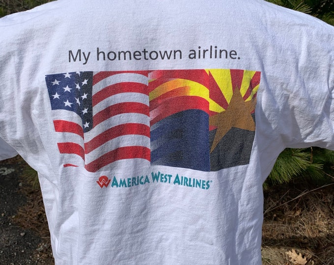 1990's Vintage America West Airlines T Shirt (XL) Bank of America Airplane Aircraft Jet Airport US Airways Boeing 737 747 Northwest Rebublic