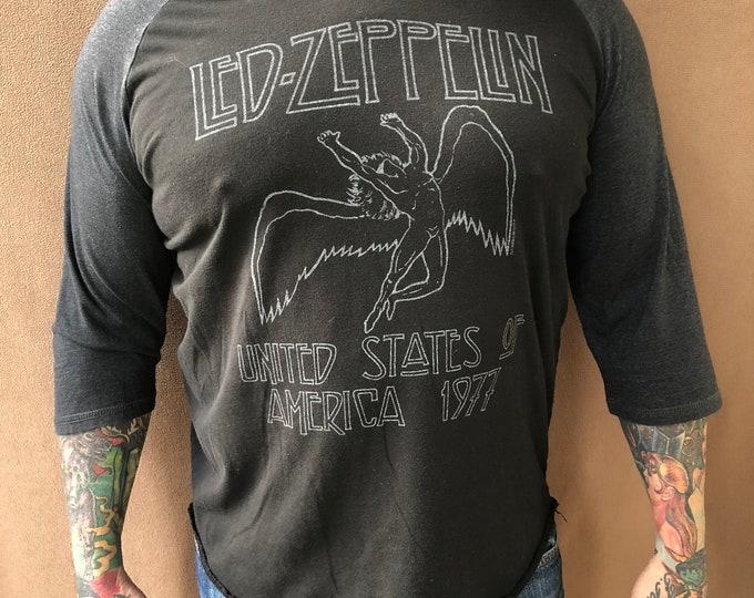 Led Zeppelin 3/4 Sleeve Band Shirt (L) Swansong Jimmy Page Robert Plant Zoso Stairway To Heaven John Paul Jones John Bonham Yardbirds