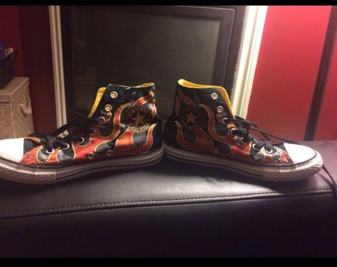 Rare Retro Flaming Converse Chuck Taylors - Sz 2 Youth Kids Clothes Kidstuff  Sneakers Punk Punkrock Punk Kid Childrens clothes Rocknroll