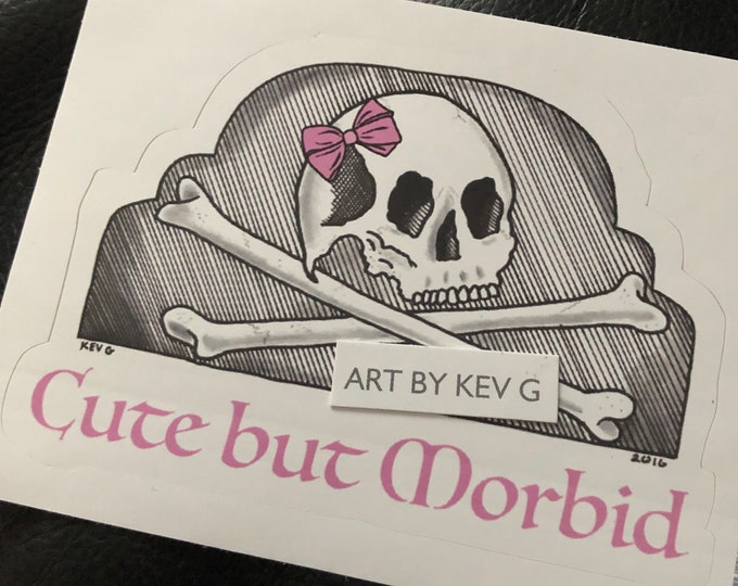 Cute but Morbid by ArtByKevG Sticker Skull Occult witchcraft gothic gothic Pentagram Tarot Ouija Witch Witchy Horror Devil Stickers Gothgirl