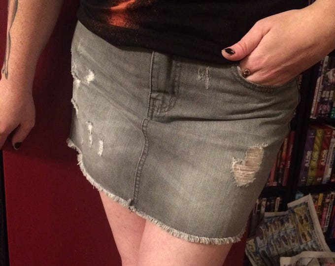 Distressed Grey Mini Skirt Punk Rock CBGBs PunkStyle Distressed Denim Sz Medium