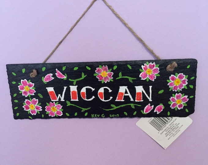 WICCA Wiccan Slate Welcome Sign Hand Painted Witch Cherry Blossoms Flowers Floral Pagan Witchy Salem Witchcraft Bewitched Magik Magic Hexy