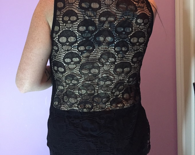 Sexy Lace Back Skull Blouse Black Skulls Sz Medium Gothgirl Goth Gothic punk punks punkrocker skull Horror Addams Family Munsters Vampira