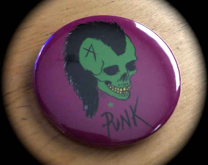 Green Skull Punks Pin Art Badge Skate Punk Mohawk by Art By Kev G CBGB mohawk punks not dead skulls DOA Misfits Artwork Plasmatics Blondie
