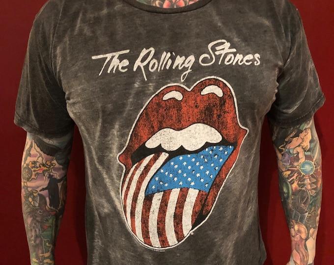 Rolling Stones Tongue Band shirt (L) Mick Jagger Keith Richards Charlie Watts Brian Jones Bill Wyman Gimme Shelter Ron Wood Satisfaction