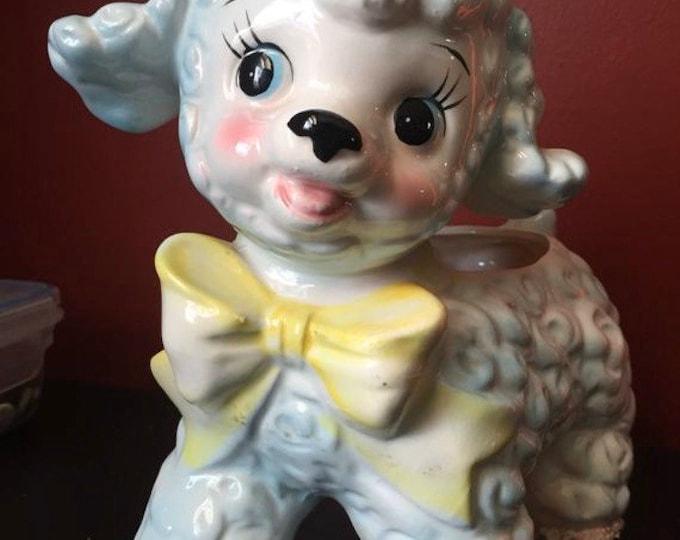 Vintage Baby Lamb 1961 Samson Import Co. Relpo Retro Baby Shower Gift - Indoor Planter Nursery Decor