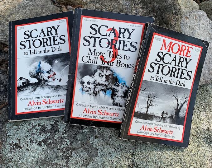 Vintage Scary Stories To Tell In The Dark 3 Paperback Books Ghost Halloween Horror Graveyard Cemetery Alvin Schwartz Witchcraft Goth Gothic