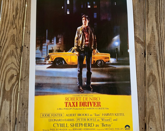 Vintage 1976 Taxi Driver Movie Poster Travis Bickle Robert De Niro Jodie Foster Albert Brooks Martin Scorsese Harvey Keitel Peter Boyle