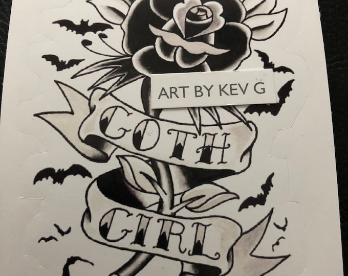 GOTH GIRL by ArtByKevG Sticker Vampira Occult witchcraft Gothic Pentagram Tarot Ouija Witch Witchy Horror Stickers Gothgirls The Munsters