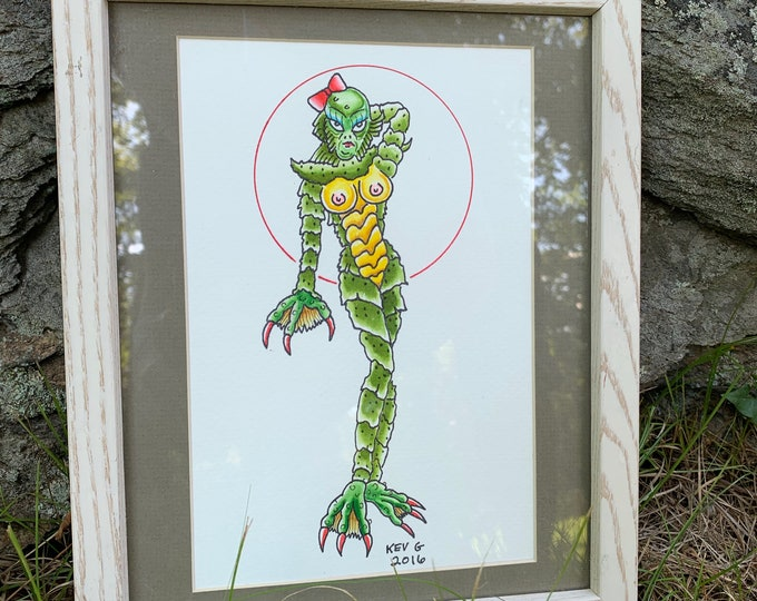 Creature From The Black Lagoon Watercolor Art Painting by ArtByKevG She Creature Framed Tattooflash Artworks Artwork Artist Horror Movies