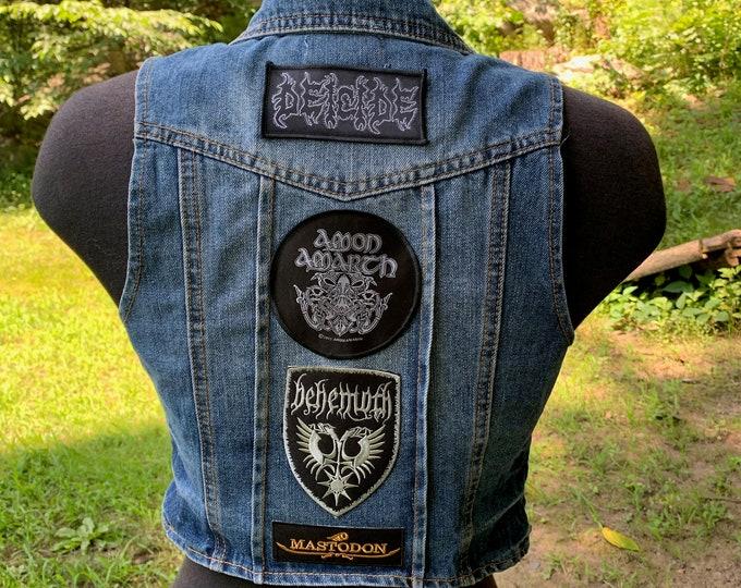 Patched Sexy Ladies XS Denim Battlevest Heavy Metal Morbid Angel King Diamond  Pentagram Occult Death Deicide Amon Amarth Behemoth Mastodon