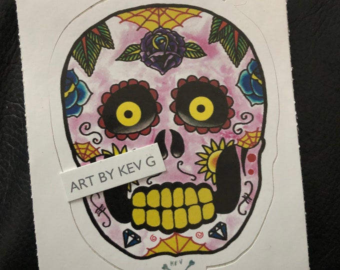 Day of the Dead Sticker by ArtByKevG Gothic Goth Muerte Mexico Artwork Mexican Sugar Skull Tattoo Flash Tattoo Art Halloween Samhain Skulls