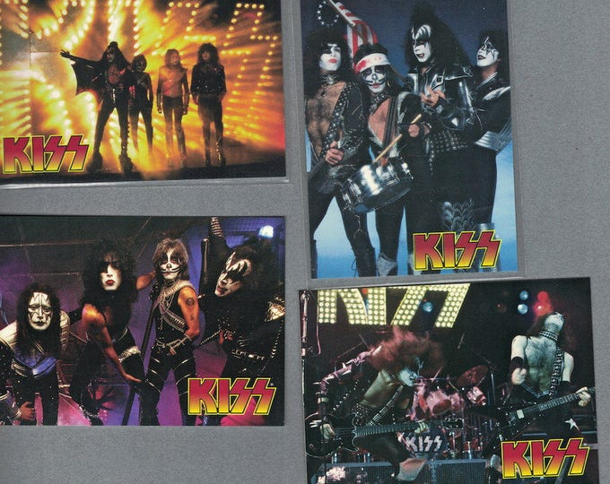 KISS Limited Edition 4 single promo cards Ace Frehley Kissband Kisstory Kissalive Love Gun Peter criss Gene Simmons Paul Stanley non sports