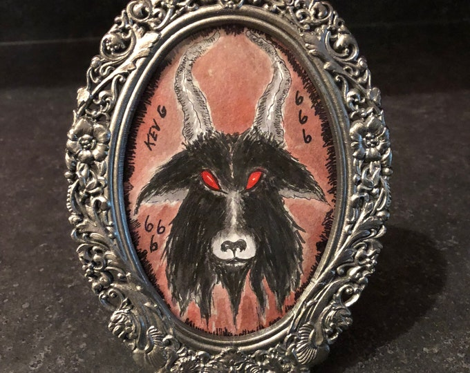 Baphomet Witchcraft Occult Watercolor Goat Art Painting Oval framed Halloween Arts Artist Art Witch Ouija Tarot Horror Artwork Goth Gothic