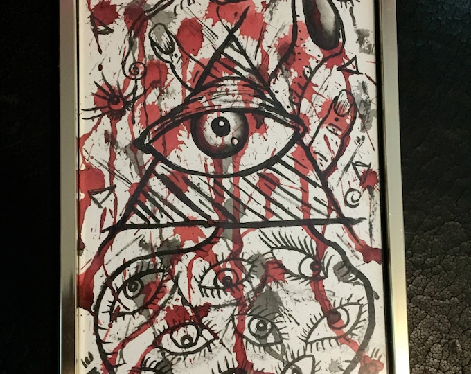 Illuminati abstract watercolor art painting framed Artist Art By Kev G eyes eyeballs Pyramid Illuminati Eye of Providence All Seeing Eye
