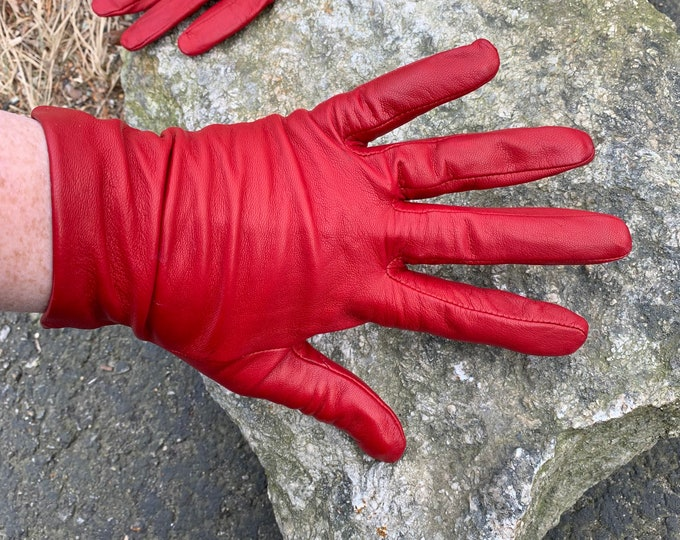 Sexy Red Leather Vintage Fownes Gloves - Formal Gloves - Formal Gloves  - Goth Glove - Steampunk Size 7 1/2