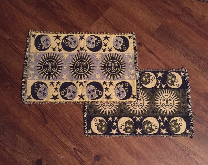 Set of 4 - Celestial Blue and Gold Sun and Moon reversable Cloth Placemats    - Altar Space - Moon Sun and Stars - Galaxy -Astrology