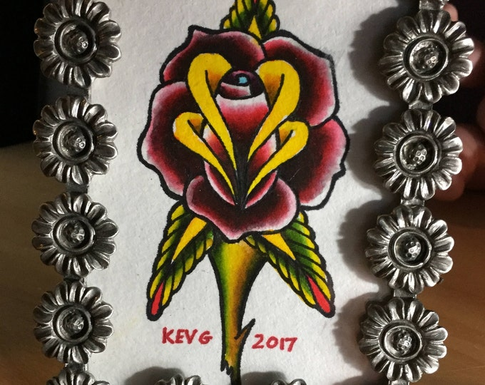 Traditional Rose watercolor art painting framed tattoo flash Tattoos floral frame Art By Kev G Red Rose Roses Tattoo Art Artist flowers cute