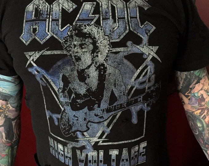 Distressed ACDC High Voltage Rock Tee Band shirt Angus Young (Med) Metalhead Dirty Deeds Malcolm Young Bon Scott bandshirt Band tee metal