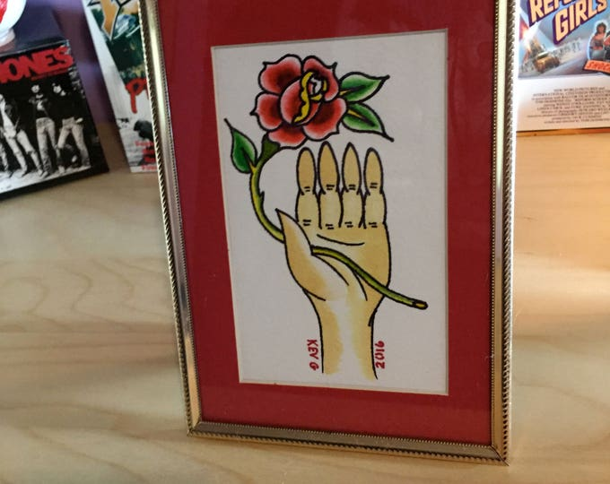 Hand and Rose watercolor art painting framed tattoo flash roses Art By Kev G Red Rose Roses tattoo art artist artlover art collector cute