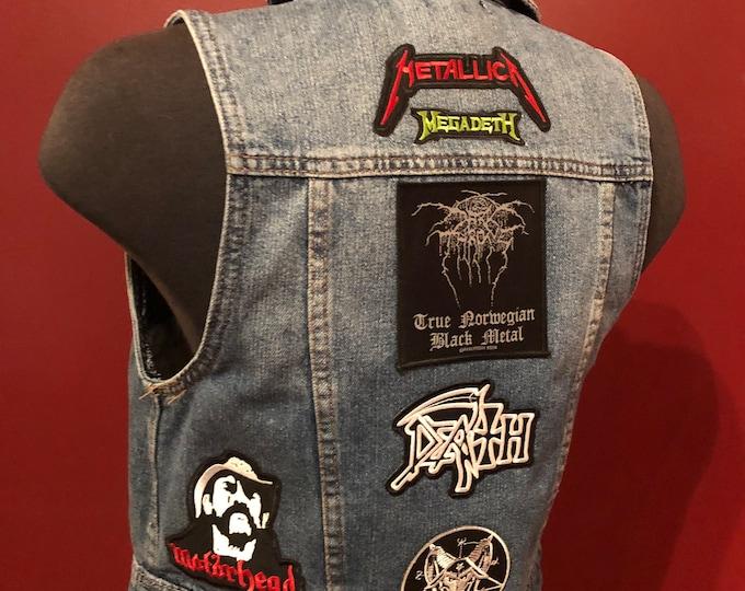 Patched Denim Vest Battlevest Heavy Metal VENOM  Megadeth Baphomet Darkthrone Lemmy Motorhead Behemoth METALLICA Pentagram Occult Death