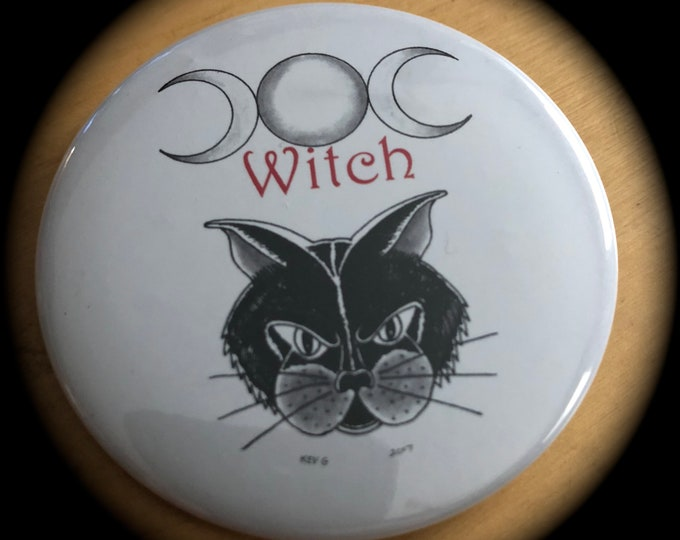 Cat Black Cat by ArtByKevG  Pin Badge Wicca Wiccan Witch Occult Salem Halloween witchcraft gothic gothic Moons Tarot Ouija Witch Witchy moon