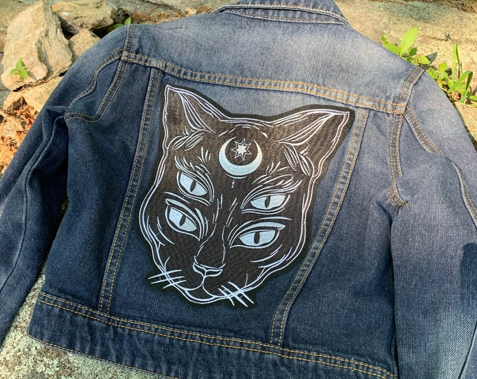 Witch Wicca Wiccan Pentacle Denim Jacket Black Cat Ouija Tarot Cards (Ladies S) Witchcraft Occult Salem Witchy Goth Gothic Moons Witches
