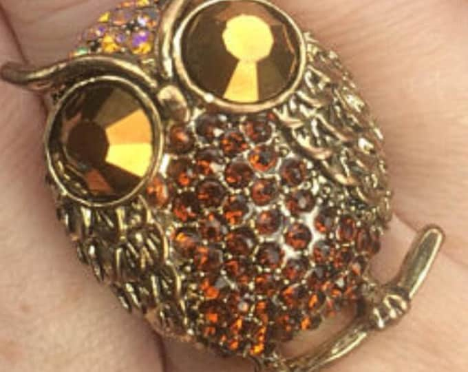 Rhinestone Owl Ring Jewelry Owls Cute Owllover bird birds birdlover forest