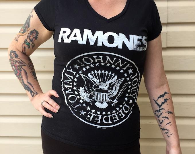 Ramones V-Neck Band shirt - (Sz-Ladies MED) CBGB Punk hey ho lets go Road To Ruin Rocket To Russia NYC Rockaway Beach Punk Rocker