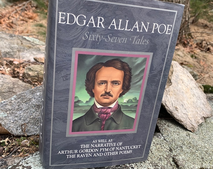 Vintage 1985 Edgar Allan Poe Poetry Sixty Seven Tales Essays Book Vincent Price Gothic Goth Poet Writer Novel Horror The Black Cat Witchy