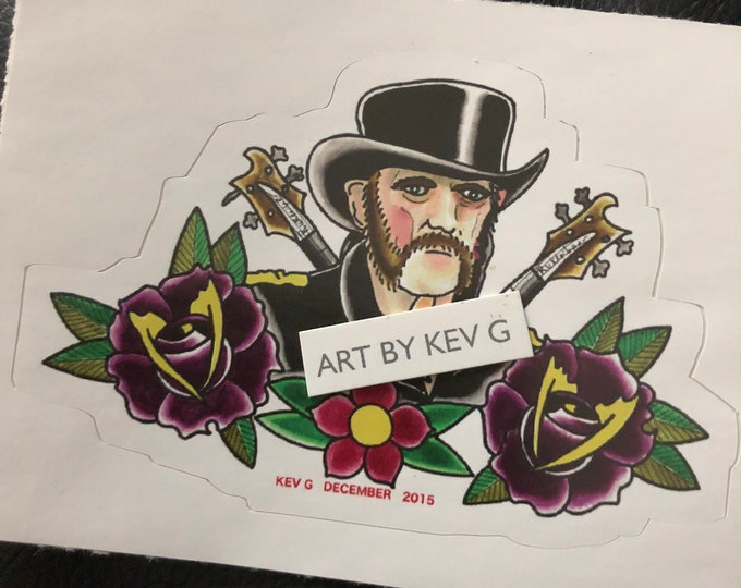Lemmy Kilmister Sticker original Artwork by Art BY Kev G Heavy Metal Metal Metalhead Bass rocknroll Lemmy Ace of Spades Testament Girlschool