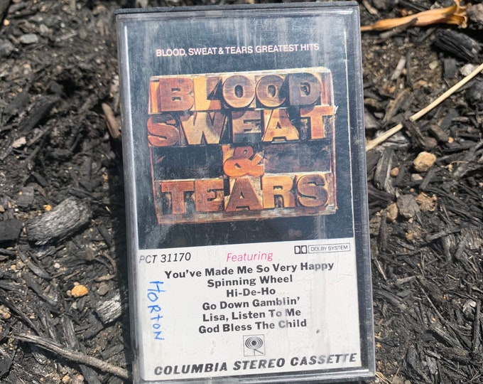 Vintage 1972 Blood Sweat & Tears Greatest Hits Cassette Tape Carly Simon CSN James Taylor Paul Simon Cat Stevens Boz Scaggs Joni Mitchell