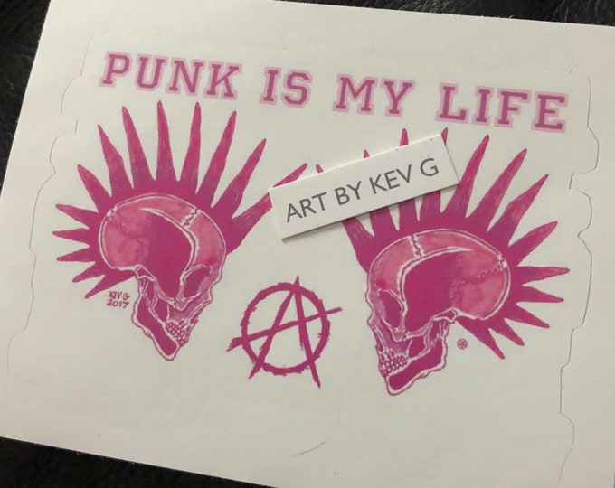 Pink Punk Anarchy Sticker by Art By Kev G CBGB Mohawk Punks Not Dead Skull Skulls The Casualties The Exploited GBH Rancid NOfX Discharge DRI