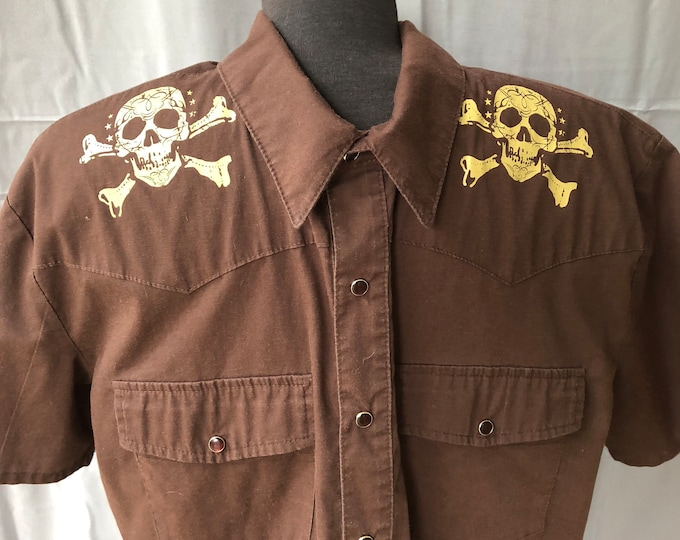 House of Blues short sleeve button Shirt - Sz XL - Band Shirt Rock Tee Skull Skulls Dress Shirt Rockabilly Psychobilly Skull Skulls