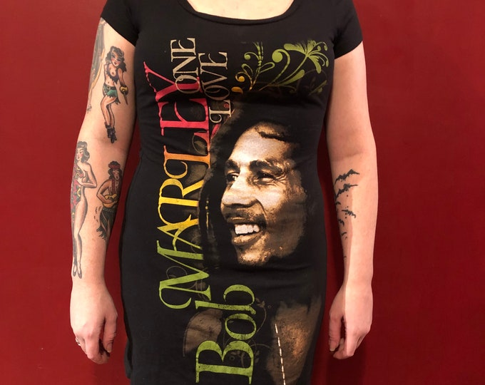 Bob Marley Tee Dress Reggae Rasta Ganja Dreadlocks (Ladies M) Jamaica Lion of Judah Rastafari Haile Selassie Rastafarian Dreads Pot Sublime