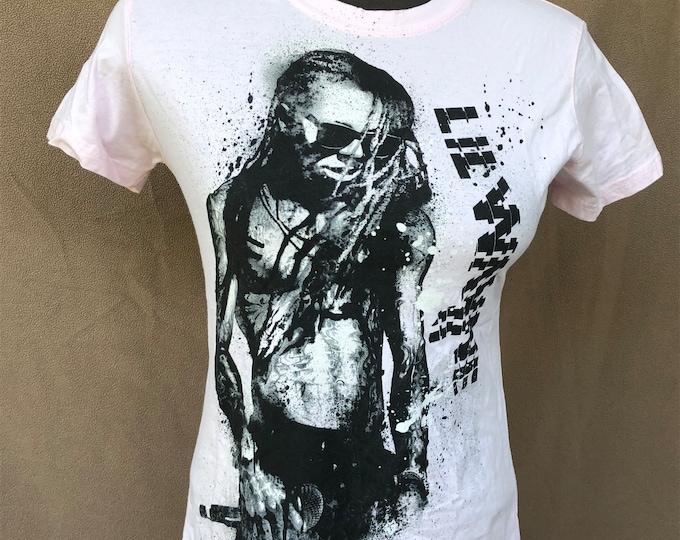 Lil Wayne Ladies Pink Fitted Tee - Weezy - Dwayne Carter - Sz Ladies Small Gangsta Rap tattoos hiphop Wiz Khalifa Nicki Minaj  Rihanna